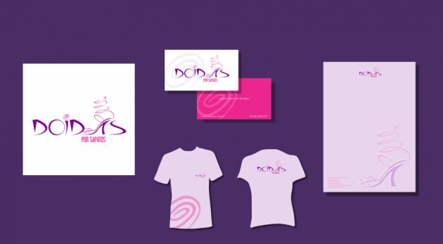 Criação de logotipo, modelo de camiseta, cartão de visita e papel timbrado. para Doidas por Sapatos