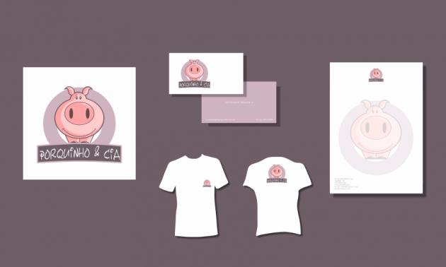 Criação de logotipo, modelo de camiseta, cartão de visita e papel timbrado. para Porquinho & Cia