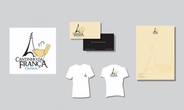 Criação de logotipo, modelo de camiseta, cartão de visita e papel timbrado. para Cantinho da França Creperia