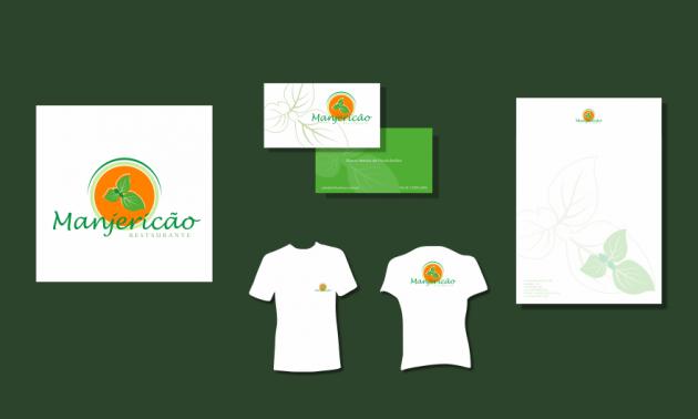 Criação de logotipo, modelo de camiseta, cartão de visita e papel timbrado. para Manjericão Restaurante