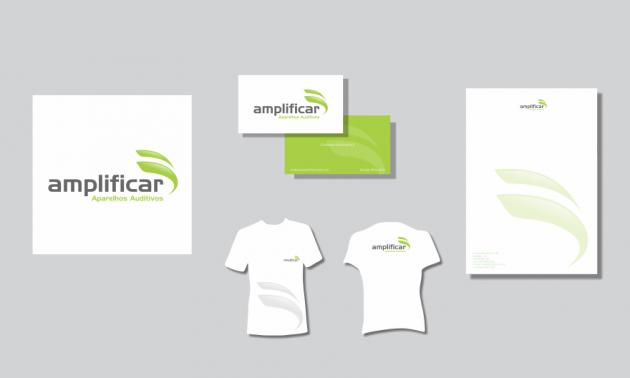 Criação de logotipo, modelo de camiseta, cartão de visita e papel timbrado. para Amplificar Aparelhos Auditivos