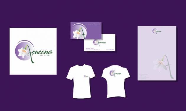 Criação de logotipo, modelo de camiseta, cartão de visita e papel timbrado. para Açucena Arte Floral