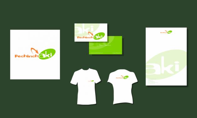 Criação de logotipo, modelo de camiseta, cartão de visita e papel timbrado. para Pechinch Aki