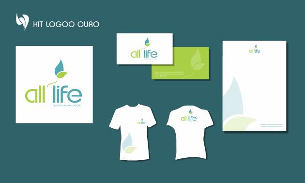 Criação de logotipo, modelo de camiseta, cartão de visita e papel timbrado. para All Life - Qualidade em Nutrição