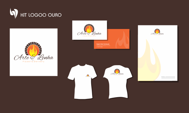 Criação de logotipo, modelo de camiseta, cartão de visita e papel timbrado. para Arte e Lenha - Pizzaria Delivery