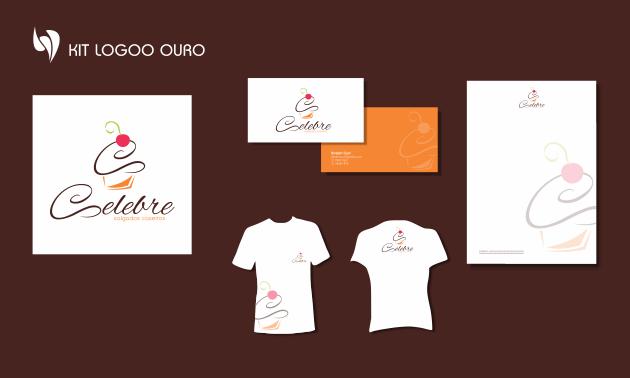 Criação de logotipo, modelo de camiseta, cartão de visita e papel timbrado. para Celebre