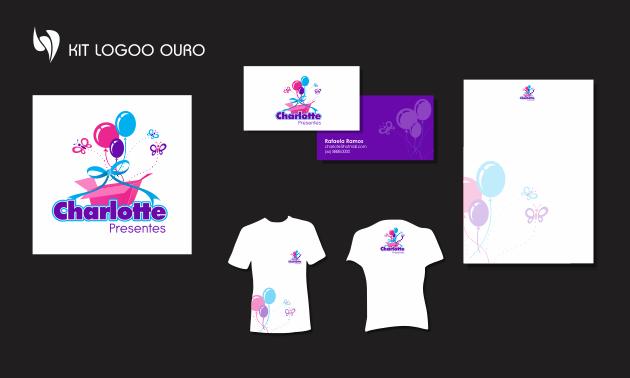 Criação de logotipo, modelo de camiseta, cartão de visita e papel timbrado. para Charlotte Presentes