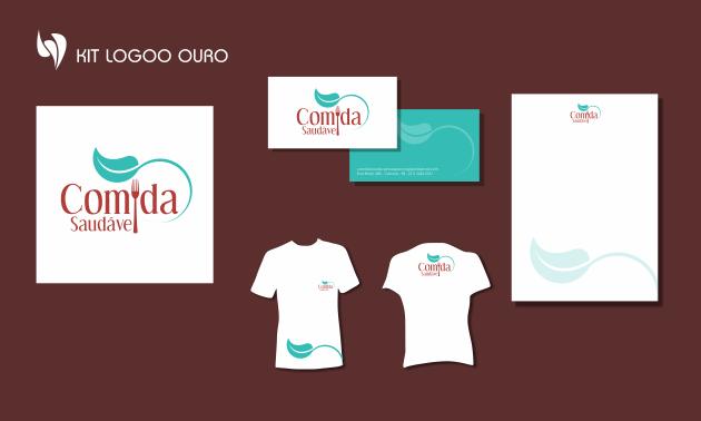 Criação de logotipo, modelo de camiseta, cartão de visita e papel timbrado. para Comida Saudável