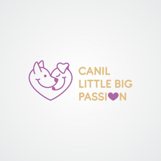 Exploramos o conceito da marca, através da figura estilizada de dois pets compondo um coração carinhosamente, passando a ideia de afeto, amor e cuidado. Usamos uma fonte limpa de arestas arredondadas, se harmonizando perfeitamente ao símbolo. Usamos o lil para Canil Little Big Passion