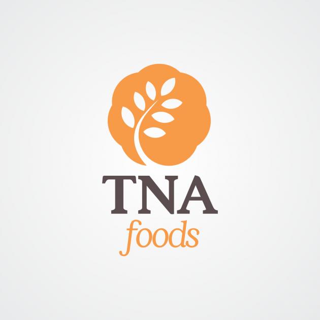 A nova marca da TNA Foods é elegante e sofisticada, com cores marcantes e contrastantes, ao mesmo tempo que é moderna e cheia de vida. Seu símbolo é composto por diversos círculos, representando a união, e também um ramo com folhas, representando os produ para TNA Foods