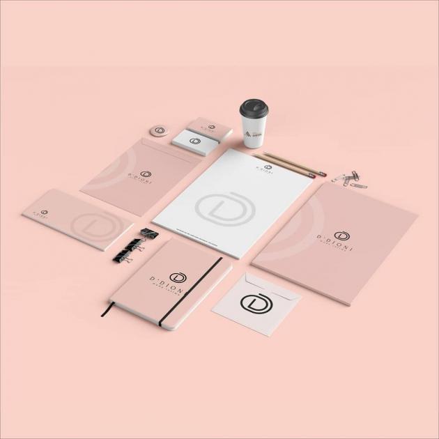 A nova marca  é elegante e sofisticada, com cores marcantes e contrastantes, ao mesmo tempo que é moderna e cheia de vida.  Representando os produtos de boa qualidade. para Ddione