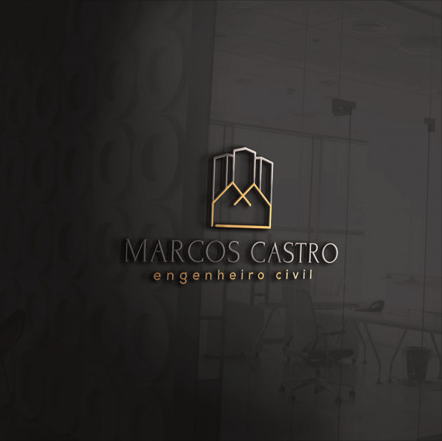 """O conceito da logomarca MARCOS CASTRO é composto pela denominação de seu próprio lettering, representado pela combinação gráfica da construção de casas e prédios junto com sua inicial """"M"""".  para Marcos Castro"""